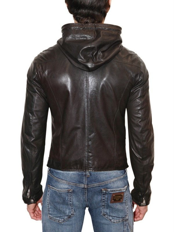 Dolce & gabbana Lightweight Nappa Hooded Leather Jacket in Brown ...