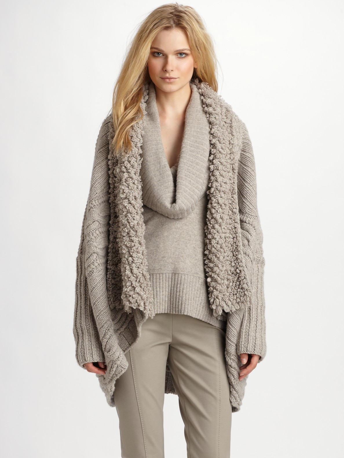 Donna Karan Wool Cashmere Cardigan Coat In Natural Lyst