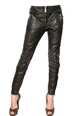 DSquared2 Studded Leather Biker Trousers - Lyst