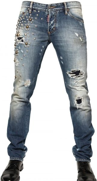 Dsquared2 19cm Round Studded Slim Fit Jeans in Blue for Men - Lyst