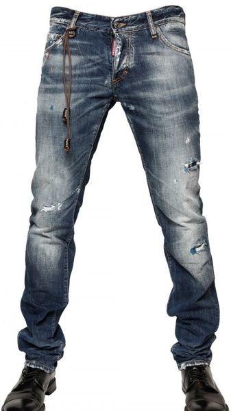 Dsquared² 19cm Washed Denim Slim Fit Jeans in Blue for Men