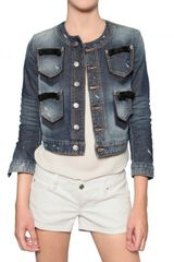 DSquared2 Leather Bow Stretch Denim Jacket - Lyst