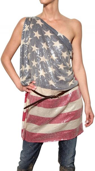 DSquared2 Sequined Flag Print Modal Jersey Top - Lyst