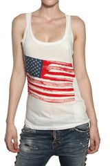 DSquared2 Flag Embroidered Cotton Jersey Tank Top - Lyst
