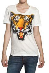 Dsquared2 Tiger Print Cotton Jersey Tshirt in White - Lyst