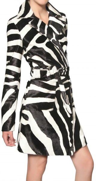 Dsquared² Zebra Print Ponyskin Trench Coat in Animal (zebra)