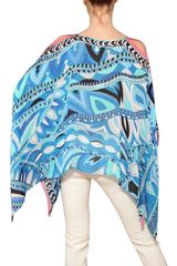 Emilio Pucci Printed Woven Silk Top in Blue (multi) - Lyst