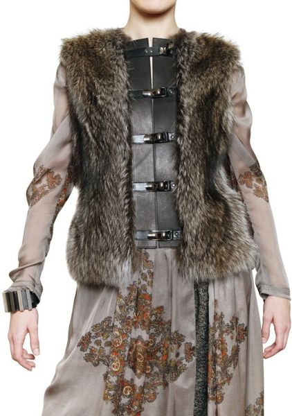 Etro Racoon and Calfskin Vest in Gray (grey) - Lyst