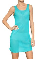 Francesco Scognamiglio Silk Chiffon Dress in Blue (turquoise) - Lyst