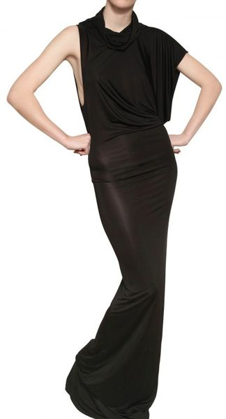 Gareth Pugh Draped Viscose Jersey Long Dress in Black - Lyst