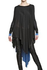 Gareth Pugh Ribbed Wool Printed Silk Modal Jersey Top - Lyst