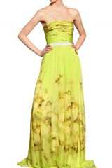 Giambattista Valli Flower Printed Silk Chiffon Long Dress - Lyst