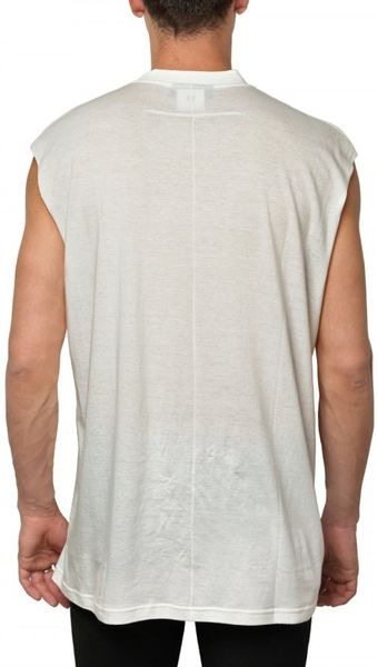 Givenchy silk blend jersey sleeveless t shirt in white for for Silk white t shirt
