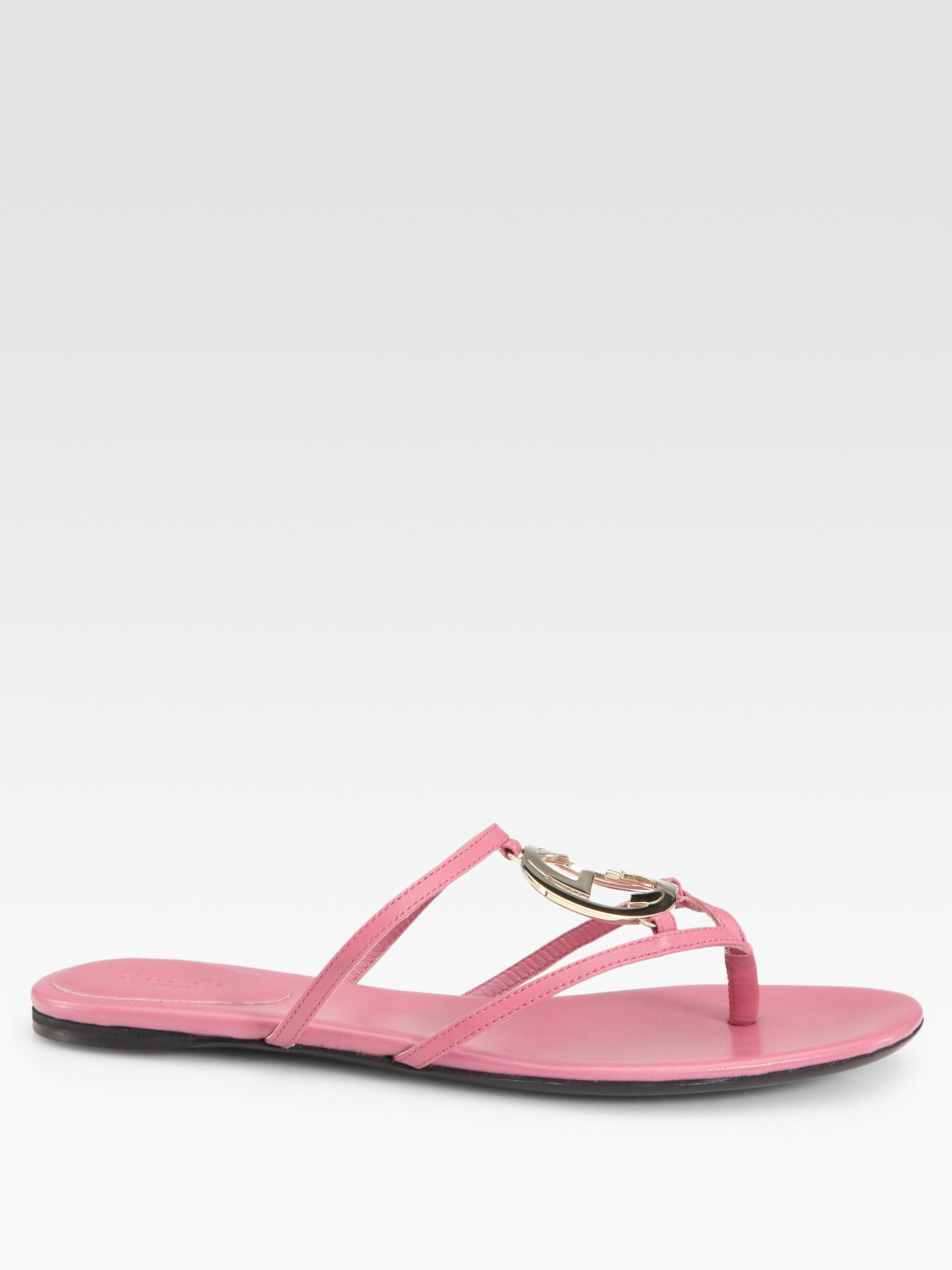 Gucci Thong Flat Sandals In Pink Lyst