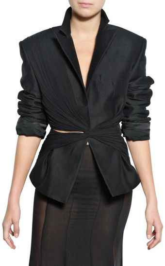Haider Ackermann Georgette On Cotton Gabardine Jacket - Lyst