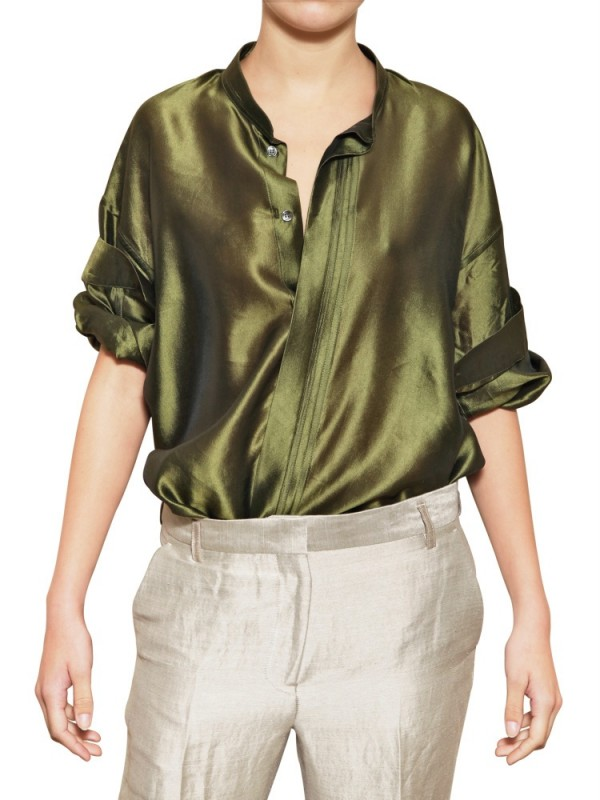 f05d56f1a4a76 Lyst - Haider Ackermann Oversize Light Silk Shantung Shirt in Green