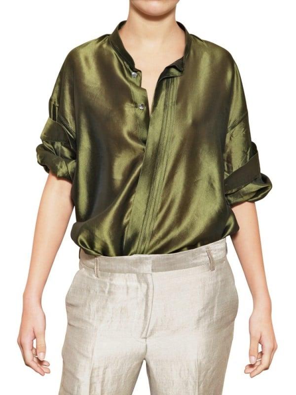 76d5f49a5c185d Lyst - Haider Ackermann Oversize Light Silk Shantung Shirt in Green