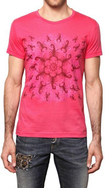 John richmond scorpion print jersey t shirt in purple for for T shirt printing richmond va