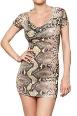 Just Cavalli Pyhton Printed Jersey Mini Dress - Lyst