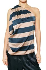 Lanvin Striped Silk Satin Top - Lyst
