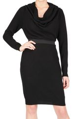 Lanvin Draped Wool Knit Dress - Lyst