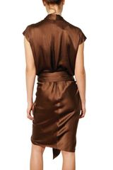 Lanvin Draped Washed Silk Satin Dress in Brown - Lyst