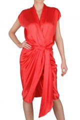 Lanvin Draped Washed Silk Satin Dress - Lyst