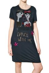 Lanvin Embroidered Viscose Jersey Dress - Lyst