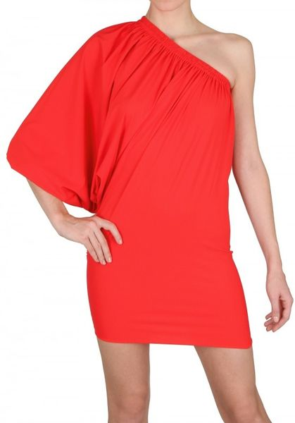 Lanvin Gathered Lycra One Sleeve Dress in Red