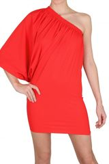 Lanvin Gathered Lycra One Sleeve Dress in Red - Lyst