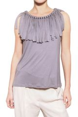 Lanvin Fringed Viscose Jersey Top - Lyst