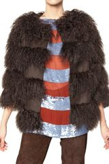 Maurizio Pecoraro Wool Cloth and Mongolian Fur Fur Coat in Brown - Lyst