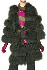 Maurizio Pecoraro Wool Cloth and Mongolian Fur Fur Coat - Lyst