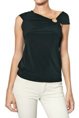 Michael by Michael Kors Draped Shoulder Floaty Jersey Top - Lyst