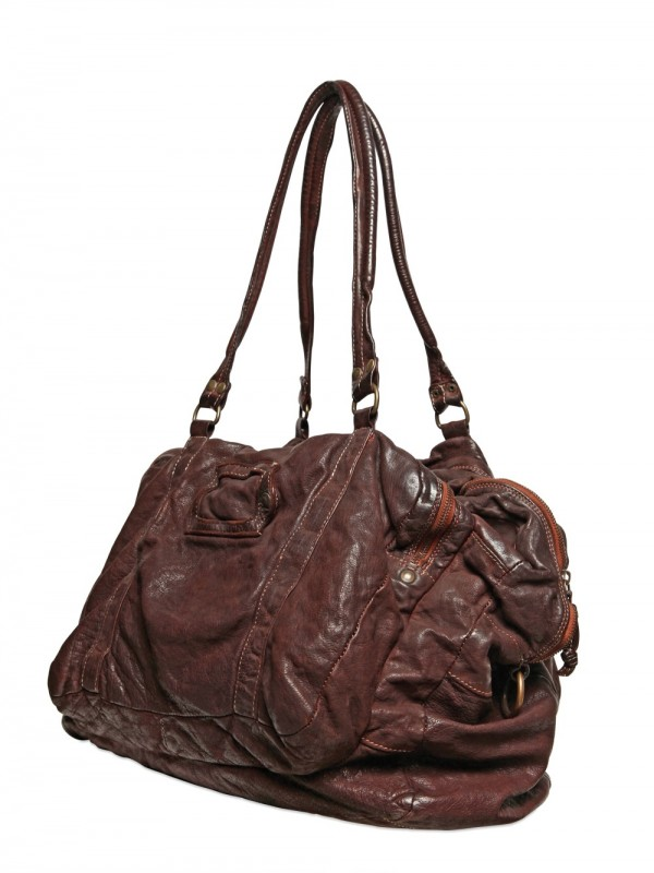 Officine creative Washed & Distressed Leather Bag in Brown for Men ...