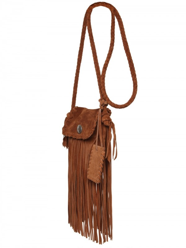 aa95b5aa4722 ... bags cheap lyst ralph lauren suede fringe shoulder bag in brown 17529  448fa ...