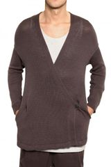 Silent By Damir Doma Wrap Over Linen Cotton Knit Sweater - Lyst