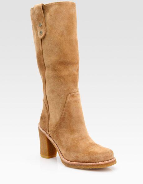 ugg josie suede knee high boots in beige black lyst