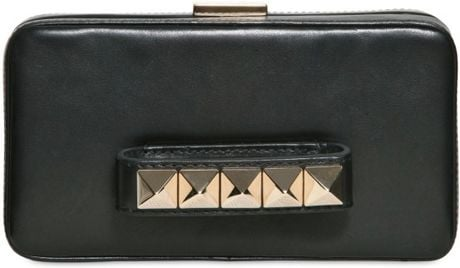 Valentino Va Va Voom Calfskin Leather Clutch in Black - Lyst