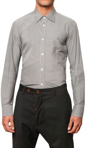 Vivienne Westwood Patchwork Vichy Poplin Shirt in Gray for Men (black) - Lyst