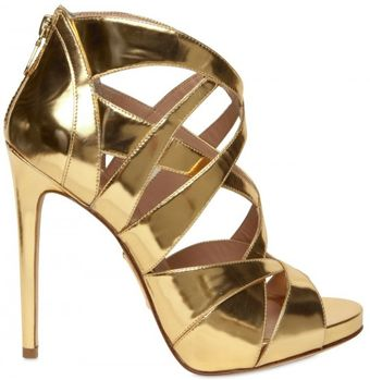 Alejandro Ingelmo 120mm Mirrored Gold Cage Sandals - Lyst