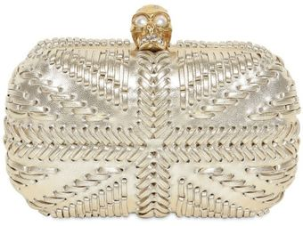 Alexander McQueen Woven Leather Britannia Skull Box Clutch - Lyst