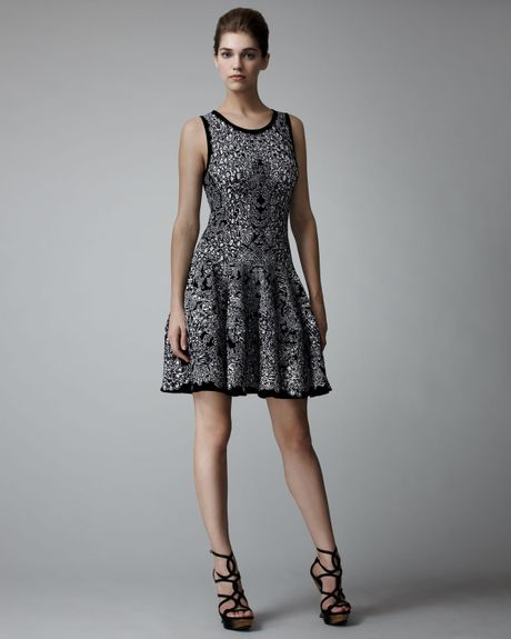 Alexander Mcqueen Fullskirt Barnacle Dress in Gray (white) - Lyst