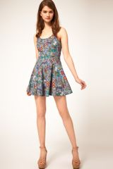 Asos Collection Asos Floral Print Denim Dress in Floral (multi) - Lyst