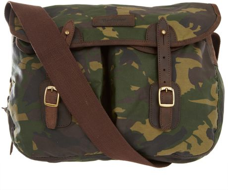 Barbour Camouflage Waxed Cotton Satchel in Green for Men