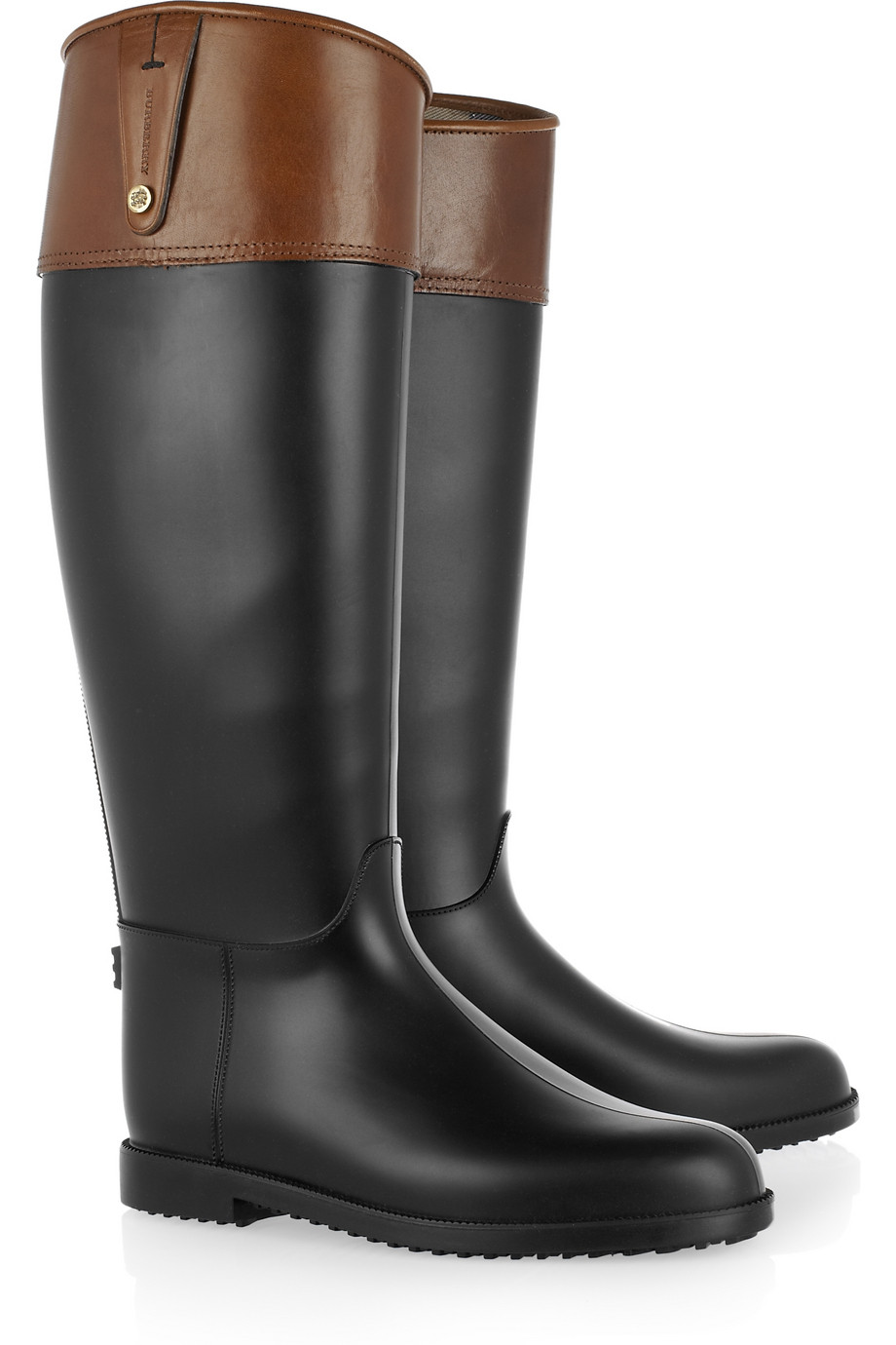 Burberry Rubber Wellington Boots In Black Brown Lyst