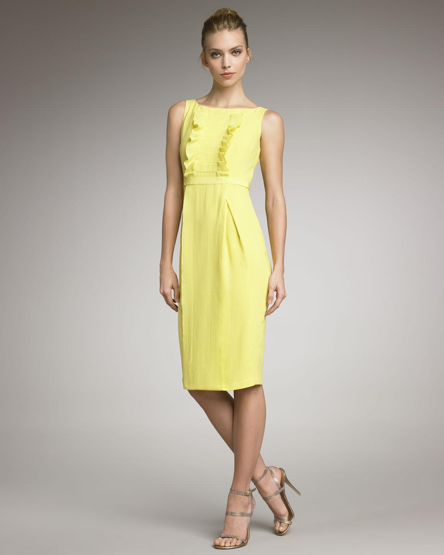 Yellow gardenia bustier dress
