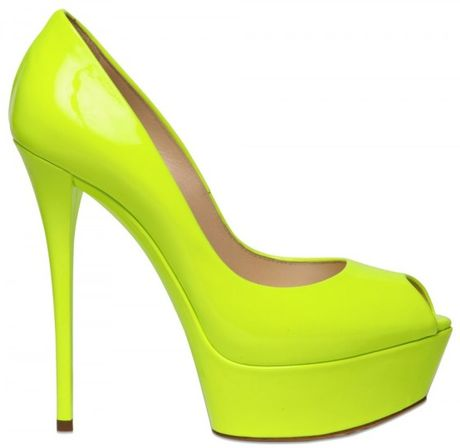 Casadei 150mm Patent Fluro Peep Toe Pumps in Yellow - Lyst