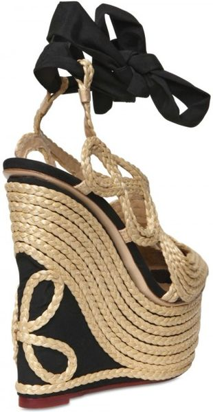 Charlotte Olympia 160mm Straw Amp Silk Wedges In Beige