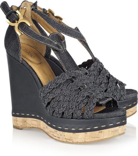 chlo 233 denim wedge sandals in blue denim lyst
